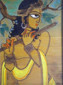 Folk Art Acrylic Art Painting title 'Krishna With Flute' by artist Pradeep Swain