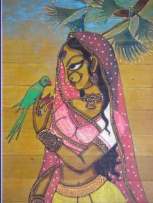 Folk Art Acrylic Art Painting title 'Woman With A Parrot' by artist Pradeep Swain