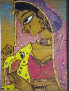 Indian Beauty I | Painting by artist Pradeep Swain | acrylic | Leaf