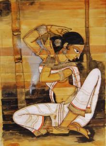 Folk Art Acrylic Art Painting title 'Shringar I' by artist Pradeep Swain