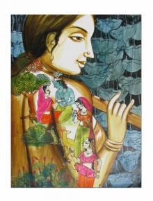 Folk Art Acrylic Art Painting title 'Krishna Leela II' by artist Pradeep Swain