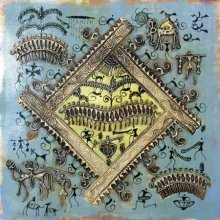 Pradeep Swain | Tribal Painting title Warli Art 4 on Canvas | Artist Pradeep Swain Gallery | ArtZolo.com