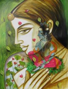 Folk Art Acrylic Art Painting title 'Radha's Beloved Krishna' by artist Pradeep Swain