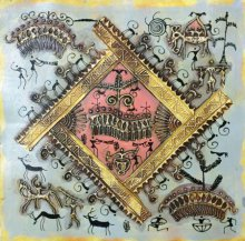 Folk Art Tribal Art Painting title 'Warli Art 1' by artist Pradeep Swain