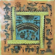 Pradeep Swain | Tribal Painting title Warli Art 3 on Canvas | Artist Pradeep Swain Gallery | ArtZolo.com