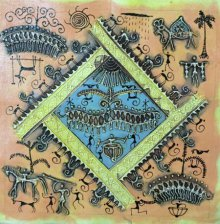 Pradeep Swain | Tribal Painting title Warli Art 2 on Canvas | Artist Pradeep Swain Gallery | ArtZolo.com