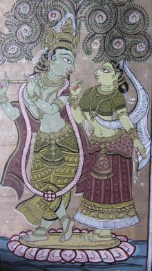 Folk Art Fabric Art Painting title 'Krishna Radha Tasar Cloth Painting V' by artist Pradeep Swain