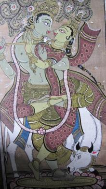 Folk Art Fabric Art Painting title 'Krishna Radha Tasar Cloth Painting IV' by artist Pradeep Swain