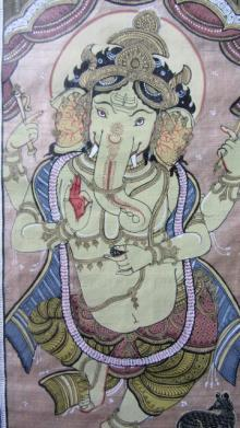 Folk Art Fabric Art Painting title 'Ganesha Tasar Cloth Painting Iii' by artist Pradeep Swain