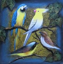 Animals Acrylic Art Painting title 'Birds 1' by artist Pradeep Swain