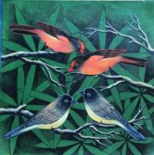 Birds 2 | Painting by artist Pradeep Swain | acrylic | Canvas