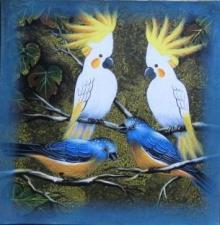 Animals Acrylic Art Painting title 'Birds 3' by artist Pradeep Swain