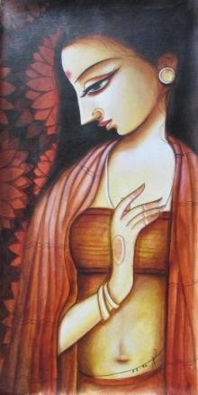 Religious Acrylic Art Painting title 'Meera' by artist Pradeep Swain