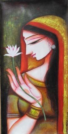 Religious Acrylic Art Painting title 'Meera 1' by artist Pradeep Swain