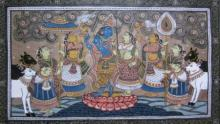 Pradeep Swain | Other Painting title Krishna Radha Tasar Cloth Painting Iii on Fabric | Artist Pradeep Swain Gallery | ArtZolo.com