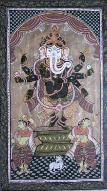 Ganesha Tasar Cloth Painting I | Painting by artist Pradeep Swain | other | Fabric