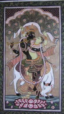 Pradeep Swain | Other Painting title Krishna Radha Tasar Cloth Painting Ii on Fabric | Artist Pradeep Swain Gallery | ArtZolo.com