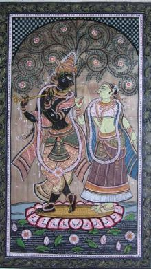 Pradeep Swain | Other Painting title Krishna Radha Tasar Cloth Painting I on Fabric | Artist Pradeep Swain Gallery | ArtZolo.com