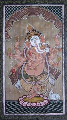 Folk Art Fabric Art Painting title 'Dancing Ganesha Tasar Cloth Painting' by artist Pradeep Swain