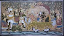 Folk Art Fabric Art Painting title 'God Blessing Tasar Cloth Painting' by artist Pradeep Swain