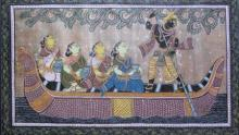 Folk Art Fabric Art Painting title 'God Tasar Cloth Painting Ii' by artist Pradeep Swain