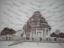 Cityscape Pen Art Drawing title 'Konark 01' by artist Pradeep Swain