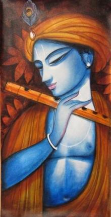 Religious Acrylic Art Painting title 'Krishna' by artist Pradeep Swain