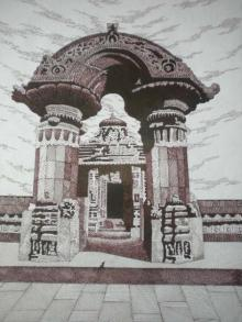 Cityscape Pen Art Drawing title 'Mukteshwar' by artist Pradeep Swain