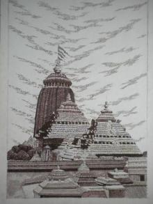 Cityscape Pen Art Drawing title 'Puri' by artist Pradeep Swain
