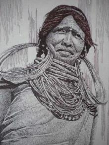 Portrait Pen Art Drawing title 'Tribal Lady 5' by artist Pradeep Swain