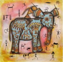 Animals Acrylic Art Painting title 'Riding Elephant Tribal Painting Blue' by artist Pradeep Swain