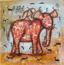 Pradeep Swain Paintings | Acrylic Painting - Riding Elephant Tribal Painting Pink by artist Pradeep Swain | ArtZolo.com