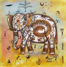 Pradeep Swain Paintings | Acrylic Painting - Elephant Tribal Painting Ii by artist Pradeep Swain | ArtZolo.com