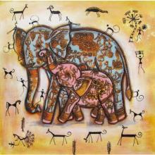 Pradeep Swain | Acrylic Painting title Elephant With Baby Tribal Painitng Yellow on Canvas | Artist Pradeep Swain Gallery | ArtZolo.com