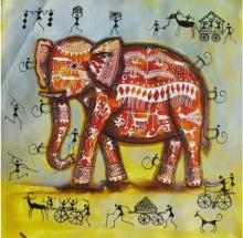 Pradeep Swain | Acrylic Painting title Elephant Tribal Painting I on Canvas | Artist Pradeep Swain Gallery | ArtZolo.com