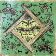 Pradeep Swain | Tribal Painting title Warli Art 6 on Canvas | Artist Pradeep Swain Gallery | ArtZolo.com