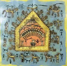 Pradeep Swain | Tribal Painting title Warli Art 7 on Canvas | Artist Pradeep Swain Gallery | ArtZolo.com