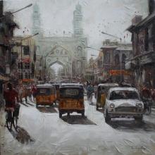 Iruvan Karunakaran | Acrylic Painting title Charminar 1 on Canvas | Artist Iruvan Karunakaran Gallery | ArtZolo.com