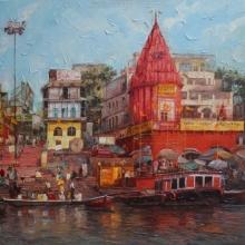 Iruvan Karunakaran | Acrylic Painting title Varanasi 1 on Canvas | Artist Iruvan Karunakaran Gallery | ArtZolo.com