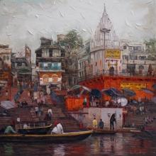 Iruvan Karunakaran | Acrylic Painting title Varanasi 2 on Canvas | Artist Iruvan Karunakaran Gallery | ArtZolo.com
