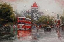 Cityscape Acrylic Art Painting title 'Cityscape 1' by artist Iruvan Karunakaran