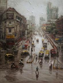 Iruvan Karunakaran | Acrylic Painting title Cityscape 2 on Canvas | Artist Iruvan Karunakaran Gallery | ArtZolo.com
