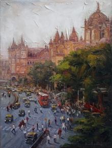 Iruvan Karunakaran | Acrylic Painting title Cityscape 3 on Canvas | Artist Iruvan Karunakaran Gallery | ArtZolo.com