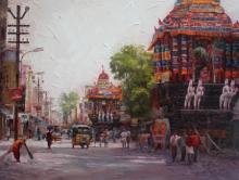 Iruvan Karunakaran | Acrylic Painting title Cityscape 4 on Canvas | Artist Iruvan Karunakaran Gallery | ArtZolo.com