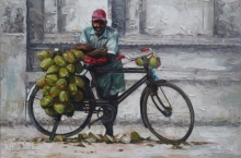 Coconut Seller | Painting by artist Iruvan Karunakaran | acrylic | Canvas