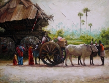 Village 1 | Painting by artist Iruvan Karunakaran | acrylic | Canvas