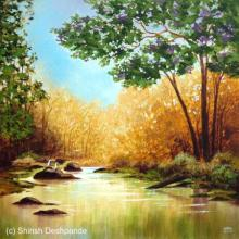 Landscape Acrylic Art Painting title 'Jungle Stream Summer' by artist Shirish Deshpande