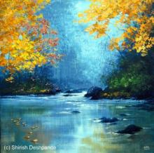 Landscape Acrylic Art Painting title 'Jungle Stream' by artist Shirish Deshpande