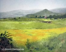 Landscape Oil Art Painting title 'Mustard Fields' by artist Shirish Deshpande