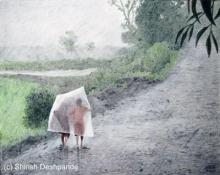 Photorealistic Oil Art Painting title 'Raining All The Day' by artist Shirish Deshpande